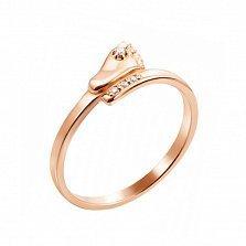 Кольцо из красного золота Стопа с фианитами
