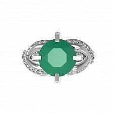 Серебряное родированное кольцо Нинель с зеленым агатом и фианитами
