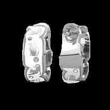 Золотые серьги Gatti с белой эмалью и бриллиантами