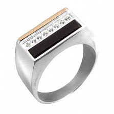 Серебряное кольцо с золотой вставкой, ониксом и цирконием Спартак