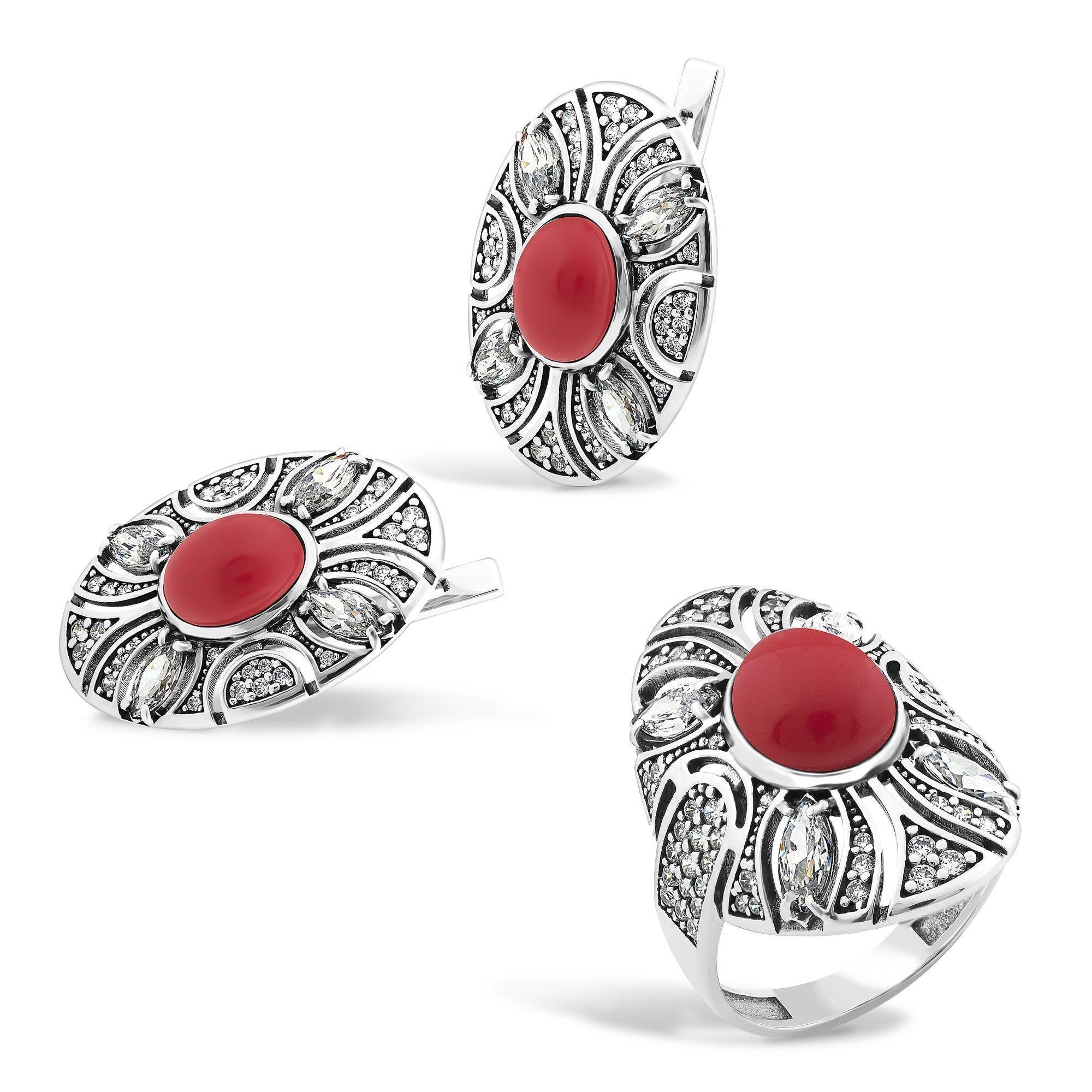 Серебряные серьги Карима с имитацией коралла и фианитами
