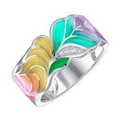 Кольцо из серебра с фианитами и эмалью 000147468