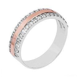 Серебряное кольцо Марина с золотой вставкой и фианитами