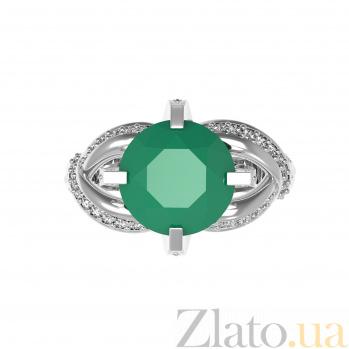 Серебряное кольцо Нинель с зеленым агатом и фианитами 000079719