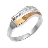 Серебряное кольцо с золотой вставкой и фианитами Нежность