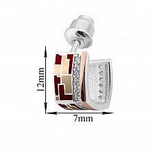 Серебряные серьги-пуссеты Эльнара с золотыми накладками, фианитами и цветной эмалью