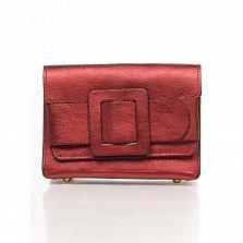 Кожаный клатч Genuine Leather 1812 бордового цвета с декоративной пряжкой и плечевым ремнем