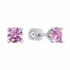 Серьги-пуссеты с розовыми кристаллами Swarovski 000133778