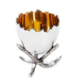 Серебряная подставка под яйцо Скорлупа с позолотой
