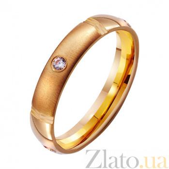 Золотое обручальное кольцо с фианитом Страсть моей души TRF--412798