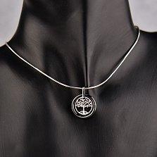Серебряный кулон Древо жизни в кольце из черной керамики