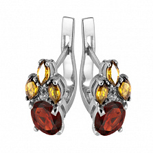 Серебряные серьги с красным и жёлтым цирконием Ульяна