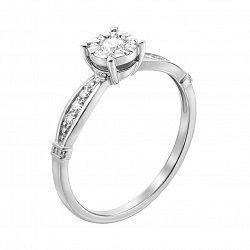 Кольцо в белом золоте с бриллиантами 000117601