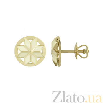 Золотые серьги с белой эмалью Сондра 2С766-0003