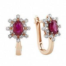 Золотые серьги Афина с рубинами и бриллиантами