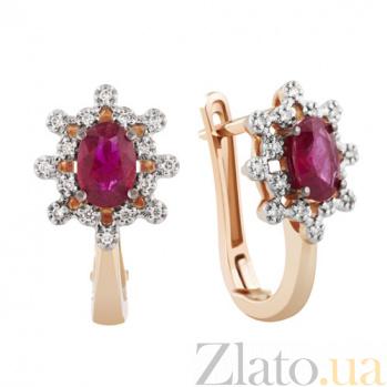 Золотые серьги Афина с рубинами и бриллиантами KBL--С2508/крас/руб