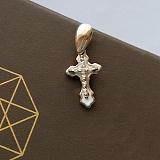 Золотой крестик Агнесс с белой эмалью и фианитами