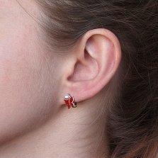 Детские серебряные сережки Яркие бабочки с жемчугом и красной эмалью