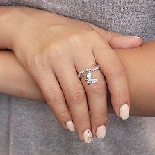 Серебряное кольцо Бесконечная весна с подвеской-бабочкой и фианитами