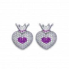 Серебряные серьги-пуссеты Коронованное сердце с корундом и фианитами