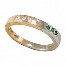 Кольцо Двойная удача в красном и белом золоте с фианитами и синтезированными изумрудами