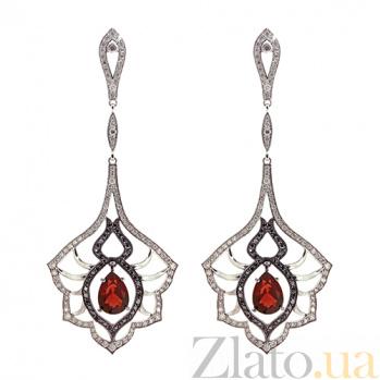Золотые серьги с бриллиантами и гранатами Loveliness ZMX--EDDbGn-00125w