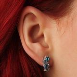 Серебряные серьги Аллита с голубым кварцем и цирконием