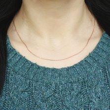 Золотая цепочка Невада в красном цвете плетения косичка, 1мм