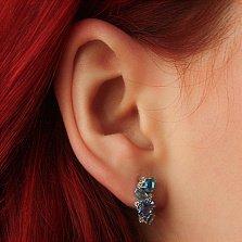 Серебряные серьги Шейла с кварцем под голубой и лондон топазы и цирконием