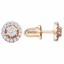 Золотые серьги-пуссеты Милдрет с бриллиантами