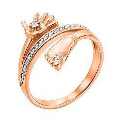 Кольцо из красного золота  с цирконием 000104575