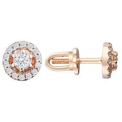 Золотые серьги-пуссеты Милдрет с бриллиантами 000066089