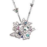 Колье из серебра с бриллиантами и цветными драгоценными камнями Butterflies