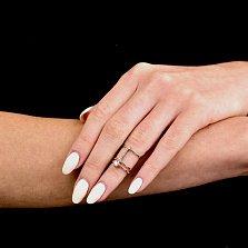 Фаланговое кольцо Хейзел с тройной шинкой на две фаланги и дорожкой белых фианитов