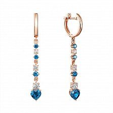 Серьги-подвески из красного золота с голубыми топазами и фианитами 000134470