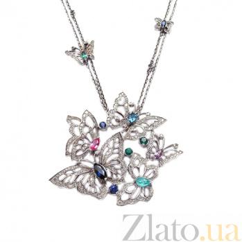 Колье из серебра с бриллиантами и цветными драгоценными камнями Butterflies ZMX--NDSTEAmCt-00403Ag