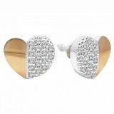 Серебряные пуссеты с золотыми вставками и фианитами Джессика