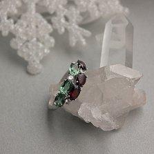 Серебряное кольцо Орланда с гранатом, зеленым кварцем и фианитами