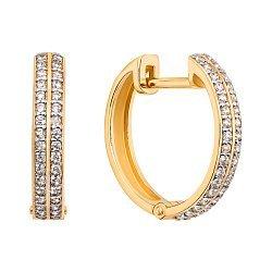Серьги-кольца из желтого золота с фианитами, 16мм 000106177