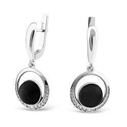 Серебряные серьги-подвески с ониксом и фианитами 000149508