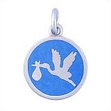 Серебряный медальон Аист с голубой эмалью