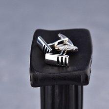 Серебряные запонки Теодор с черными полосками эмали