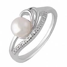 Кольцо из белого золота с жемчугом и бриллиантами Ванесса