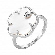 Серебряное кольцо Утренний цветок с белым перламутром и фианитами
