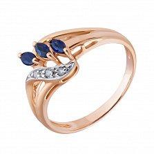 Золотое кольцо Дебора в красном цвете с сапфирами и бриллиантами