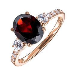 Кольцо из красного золота с гранатом и фианитами 000136279