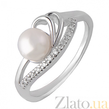 Кольцо из белого золота с жемчугом и бриллиантами Ванесса TRF--1221474н