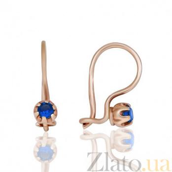 Серьги  с синим цирконием Золотая петелька EDM--С0336С