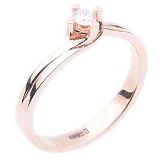 Кольцо из красного золота с бриллиантом Теплые чувства
