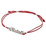 Шелковый браслет Natali с серебряной вставкой